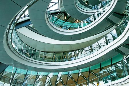 Oval stairway in the middle of office building Stock Photo - 2850856