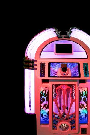 jukebox: Retro style look of pink music jukebox Stock Photo
