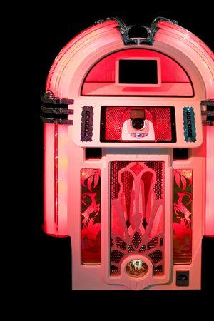 jukebox: Retro style look of red music jukebox Stock Photo