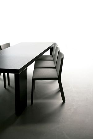 Black table with chairs in dinning room