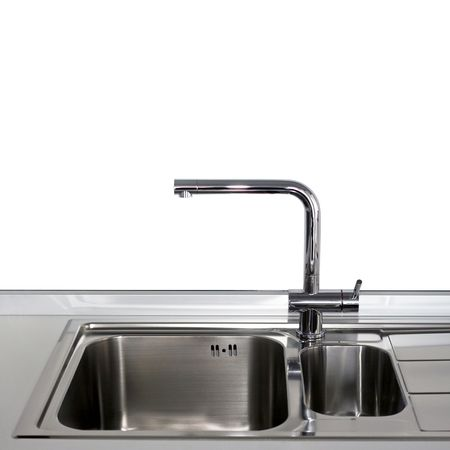 Close up shot of faucet and stainless sink Stock Photo - 3682852