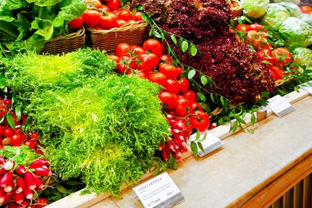 Big shelf in supermarket with fresh vegetables Stock Photo - 6285665