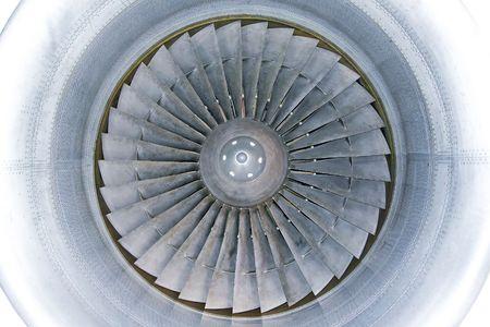 Interior of powerful jet engine turbine with titanium blades Stock Photo - 6568028