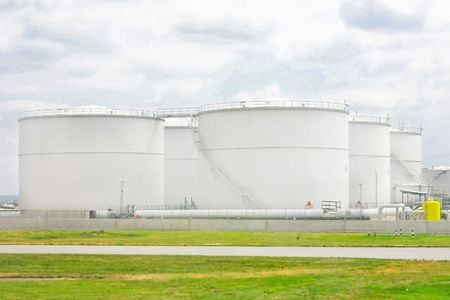 fuel tanks: Big round and white tanks for oil