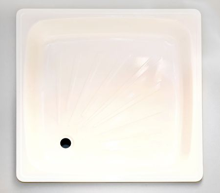 Top view of white shower square base  photo