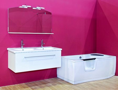 Contemporary bathroom with vivid pink color wall photo
