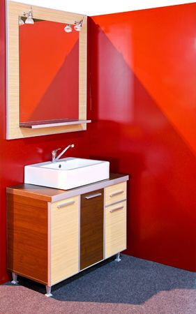 Wooden vanities in a modern contemporary bathroom Stock Photo - 6923906