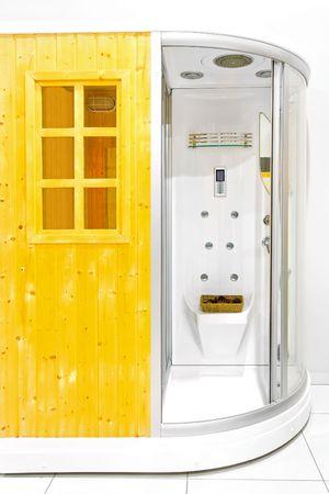 duschkabine: Kleine h�lzerne home Sauna mit Dusche