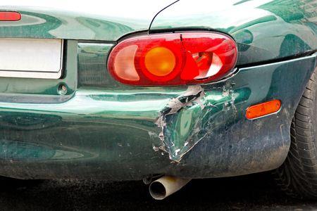 crashed: Close up shot of crashed car bumper