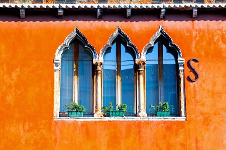 murano: Old windows on the Murano colorful house