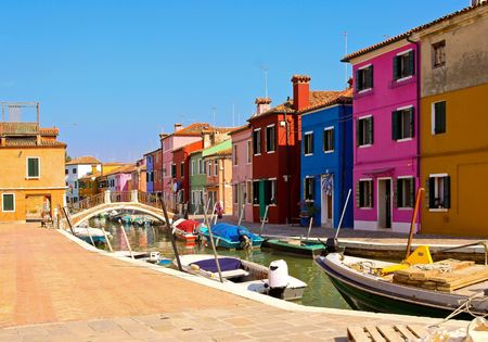 Beautiful Burano landscape with bridge over canal photo