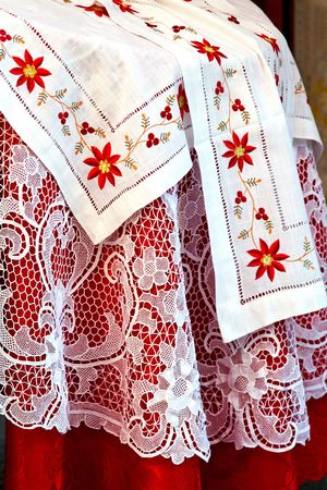 White lace and floral handmade table cloth Stock Photo - 7228046
