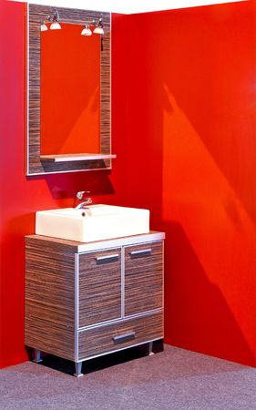 Modern bathroom with combination of ceramic and wooden vanities  photo