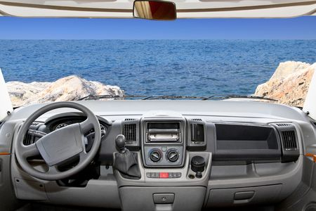 holidaymaker: Beautiful scenic ocean view from recreational vehicle