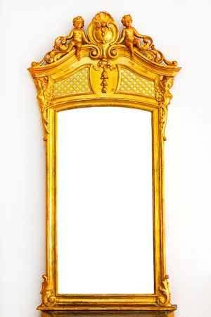 gold top: Antique gold mirror with angel figures on top