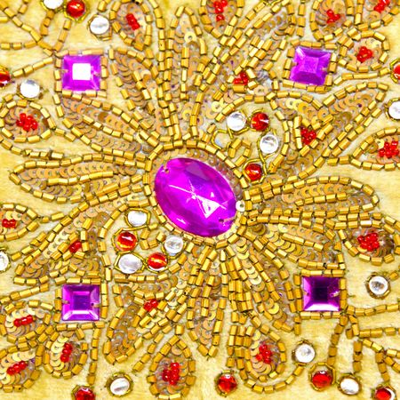 Detail of sparkling jewels with gold ornaments Stock Photo - 7417066