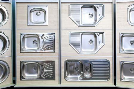 sinks: Display of stainless steel kitchen sinks samples