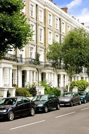 Residential street at Notting hill in London photo