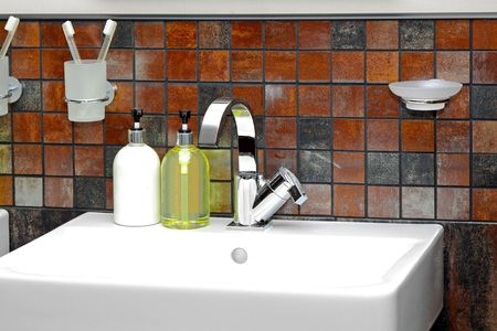 Detail of modern bathroom with white ceramic sink photo