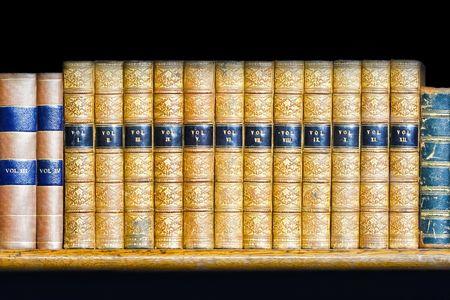 book shelf: Large volume of old books at shelf Stock Photo