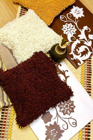 interior accessories: Interesting artistic interior decoration with earth tones Stock Photo