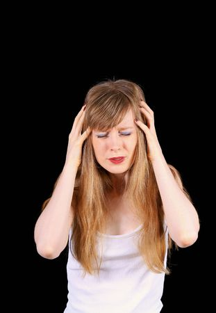 devastated: Devastated young women struggling with headache pain