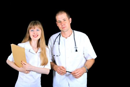 Young doctors team in white medical uniforms Stock Photo - 7844726