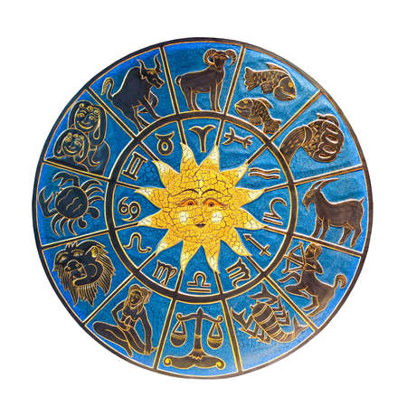 zodiac constellations: Zodiac with sun isolated