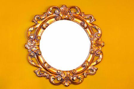 wall mirror: Close up shot of round wooden mirror
