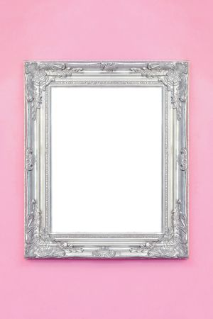 silver: Rustic silver frame over pink wall isolated