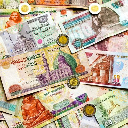 arabic currency: Big pile of colorful Egyptian pounds banknote