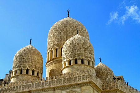 Detail of ancient mosque domes and minarets photo