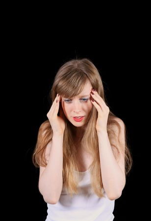 Devastated young women struggling with headache pain Stock Photo - 8014675