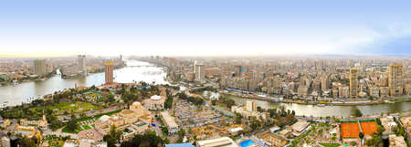 nile: Sunny panorama of Cairo city from tower  Stock Photo