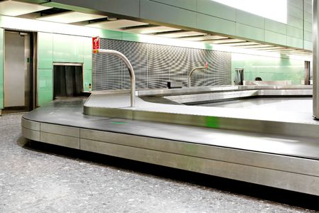 waiting area: Empty waiting area near baggage carousel on international airport  Stock Photo