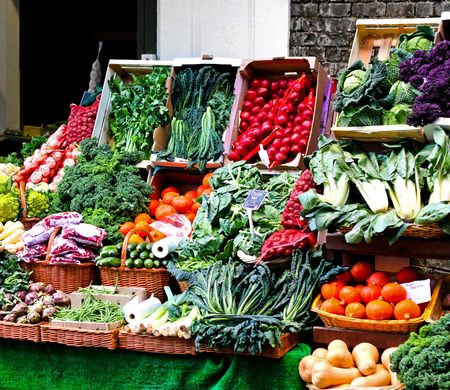 nice food: Fresh vegetables sold on nicely arranged market stall