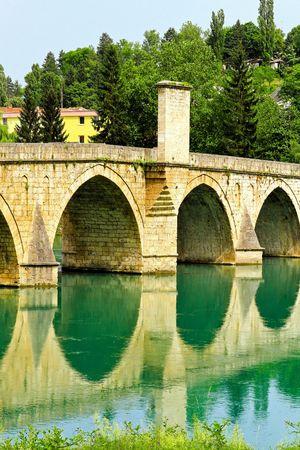 Mehmed Pasha Sokolovic bridge in Visegrad at Drina river  photo