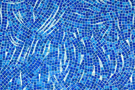 mosaic wall: Detailed texture of mosaic tiles in blue  Stock Photo
