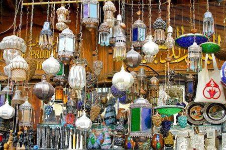 khan: Bunch of colorful chandeliers sold on street market