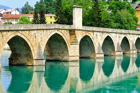 visegrad: Mehmed Pasha Sokolovic bridge in Visegrad at river Drina  Stock Photo