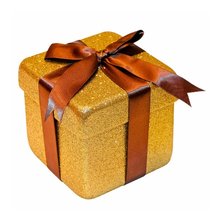 Christmas gift packed into golden box isolated  photo