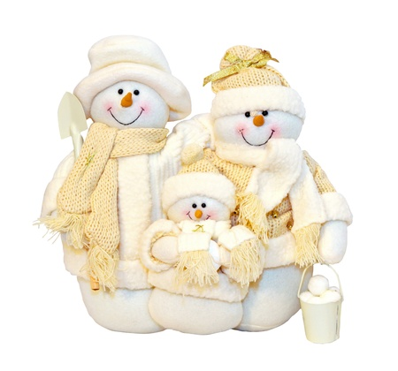 Snowman family dolls isolated   photo