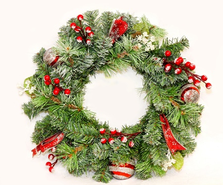 wreath: Traditional Christmas wreath for entrance door decoration