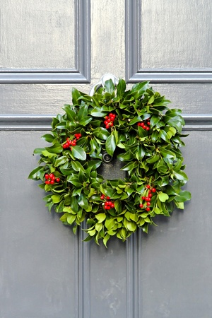 Wreath decoration at door for Christmas holiday  photo