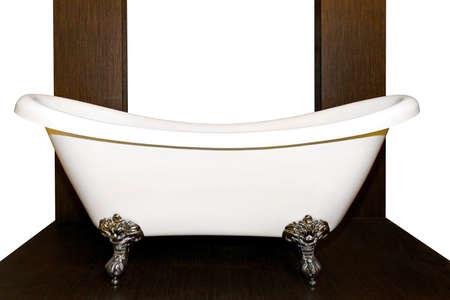 tub: Old style bathtub with legs in wooden bathroom