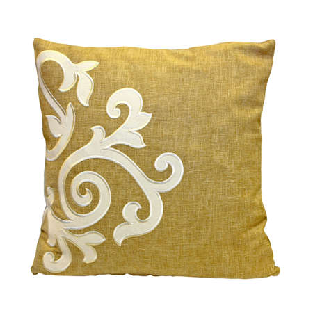cushion: Beige decoration pillow isolated