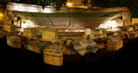 trieste: The old Roman amphitheatre from first century in Trieste