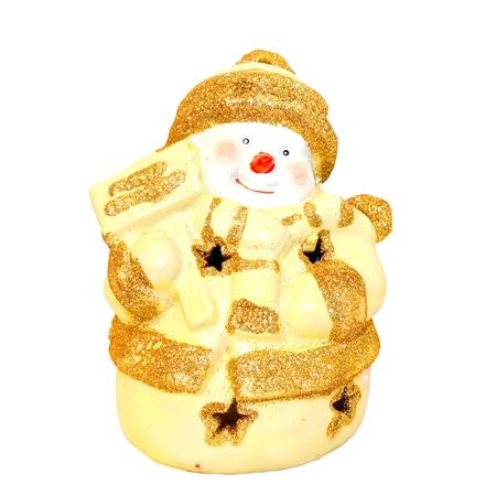 Yellow snowman figurine isolated  photo