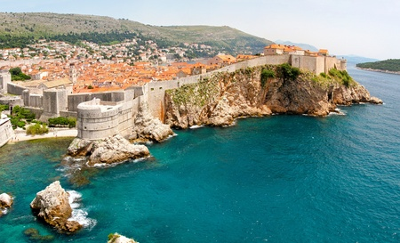 Panoramic aerial photo of old Dubrovnik walls  photo