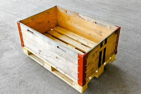 euro pallet: Wooden box at standard euro pallet in warehouse